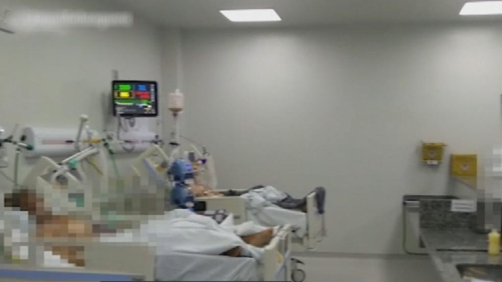 Leitos de UTIs  lotados em Goiás — Foto: Reprodução/TV Anhanguera