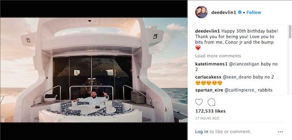 O post no qual a companheira de Conor McGregor anunciou estar grávida do segundo filho do lutador (Foto: Instagram)