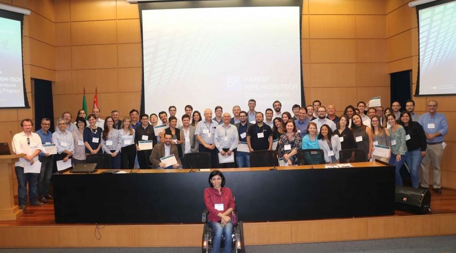 Empreendedores responsáveis por 21 projetos participaram de Treinamento em Empreendedorismo de Alta Tecnologia (Foto: Felipe Maeda/Agência FAPESP)