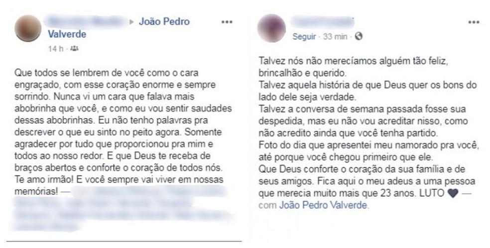 Amigos fizeram textos em homenagem à João Pedro Casado nas redes sociais  — Foto: Reprodução/Facebook