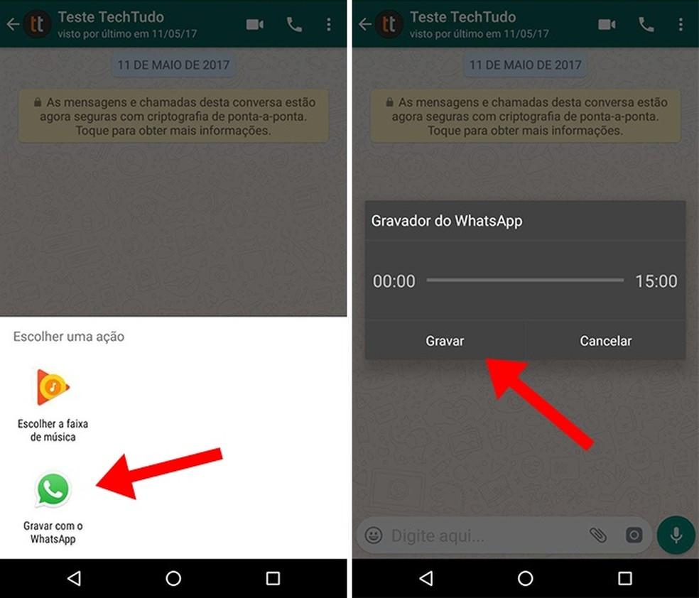 Ative o gravador integrado do WhatsApp (Foto: Reprodução/Paulo Alves)