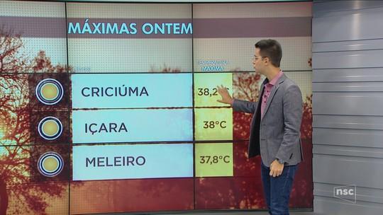 Calor de até 38°C e tempo aberto marcam a terça-feira em Santa Catarina