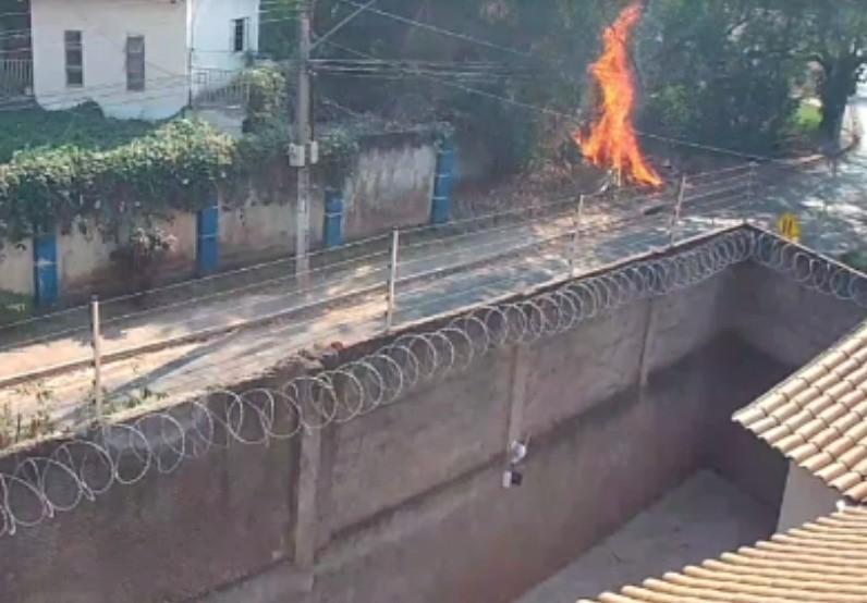 Prefeitura tenta identificar mulher flagrada ateando fogo em vegetação em Cuiabá