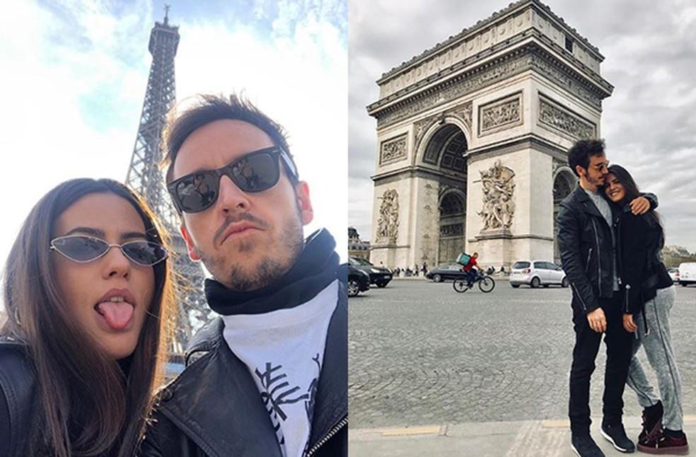 O casal pretende fazer um programa caseiro neste Dia dos Namorados; nos registros, eles em viagem romântica a Paris — Foto: Reprodução/Instagram