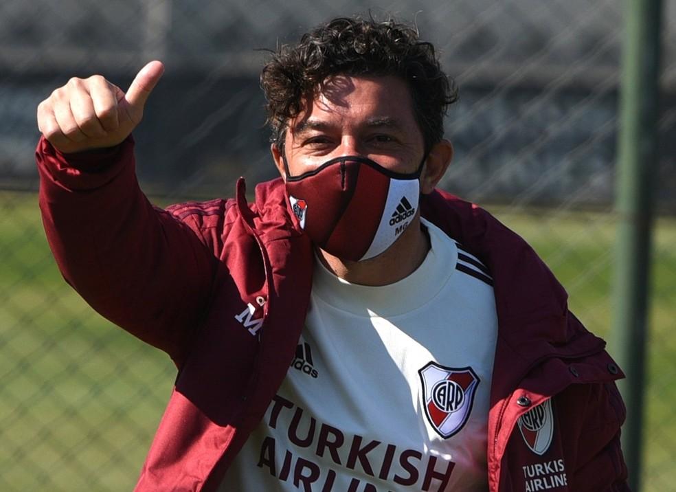 O técnico Marcelo Gallardo: River Plate está sem jogar desde o dia 11 de março — Foto: Divulgação/River Plate