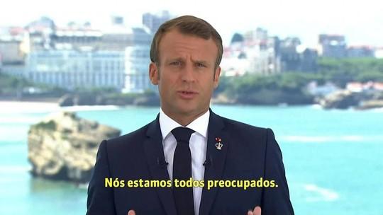 Macron pede mobilização de potências e afirma que Amazônia é 'bem comum'