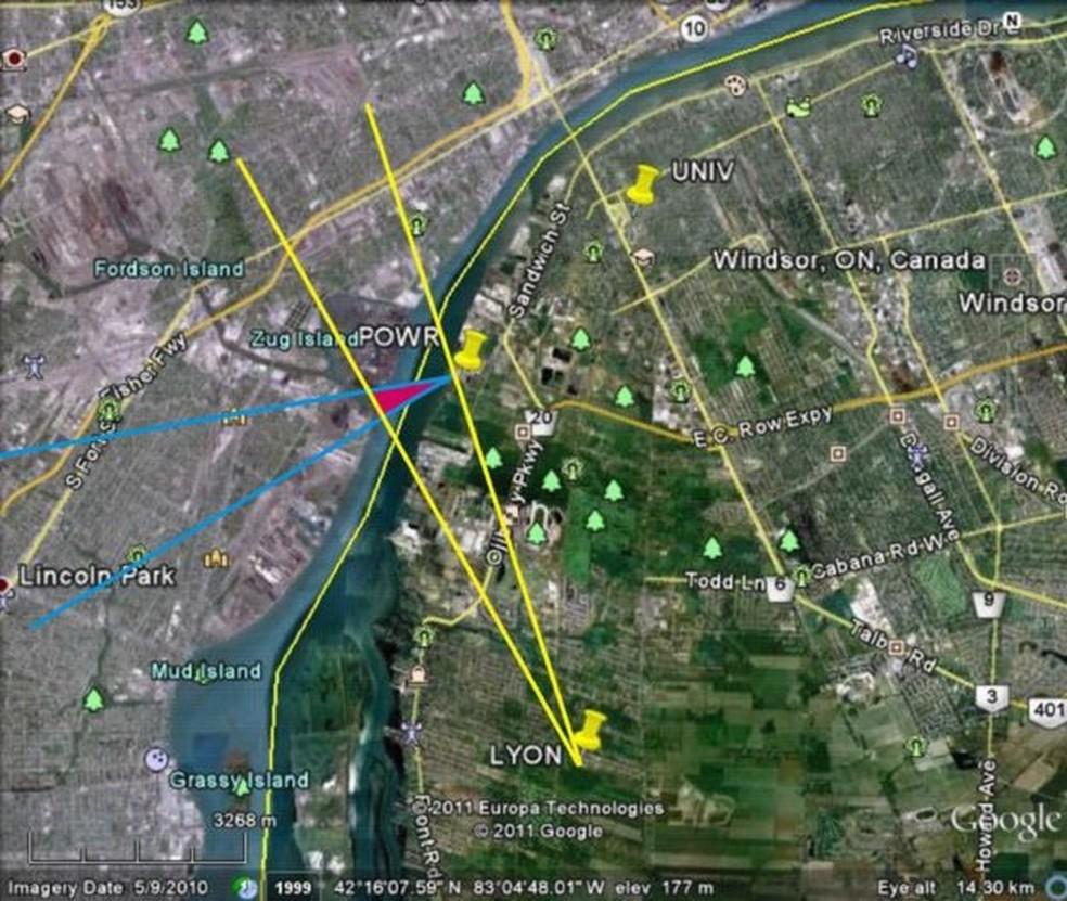 Triângulo avermelhado identificado no estudo da Universidade de Ontario Ocidental mostra a origem mais provável do ruído, na ilha Zug (Foto: Agencia Geológica de Canadá/BBC)