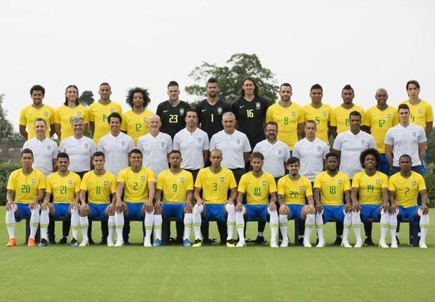 Foto oficial da seleção brasileira para a Copa do Mundo na Rússia (Foto: Lucas Figueiredo/CBF)