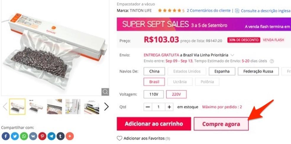 Página de compras de um produto no site Gearbest â?? Foto: Reprodução/Marvin Costa