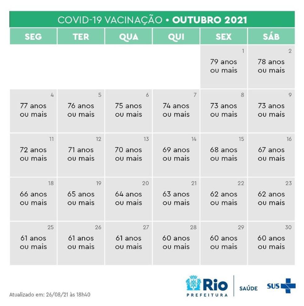 Calendário de vacinação no Rio para idosos em geral— Foto: Reprodução