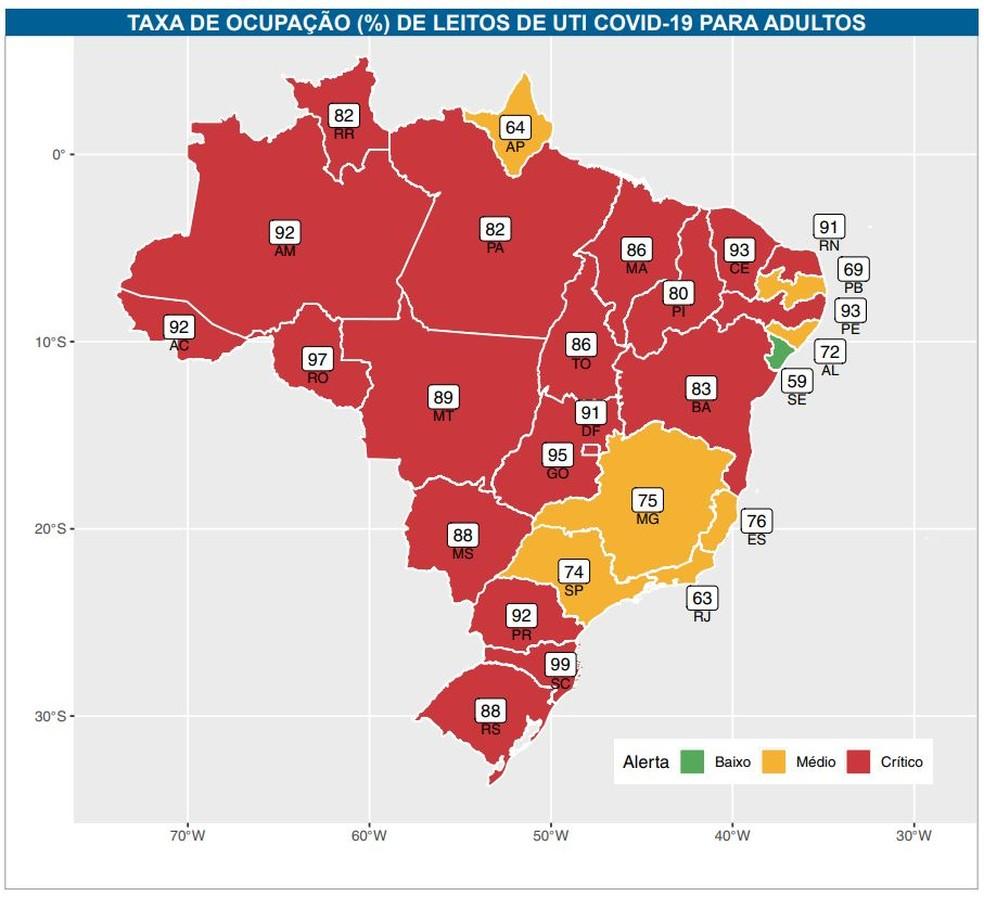 Ocupação de UTIs pelo Brasil em 1° de março segundo o Boletim do Observatório Fiocruz Covid-19. — Foto: Reprodução
