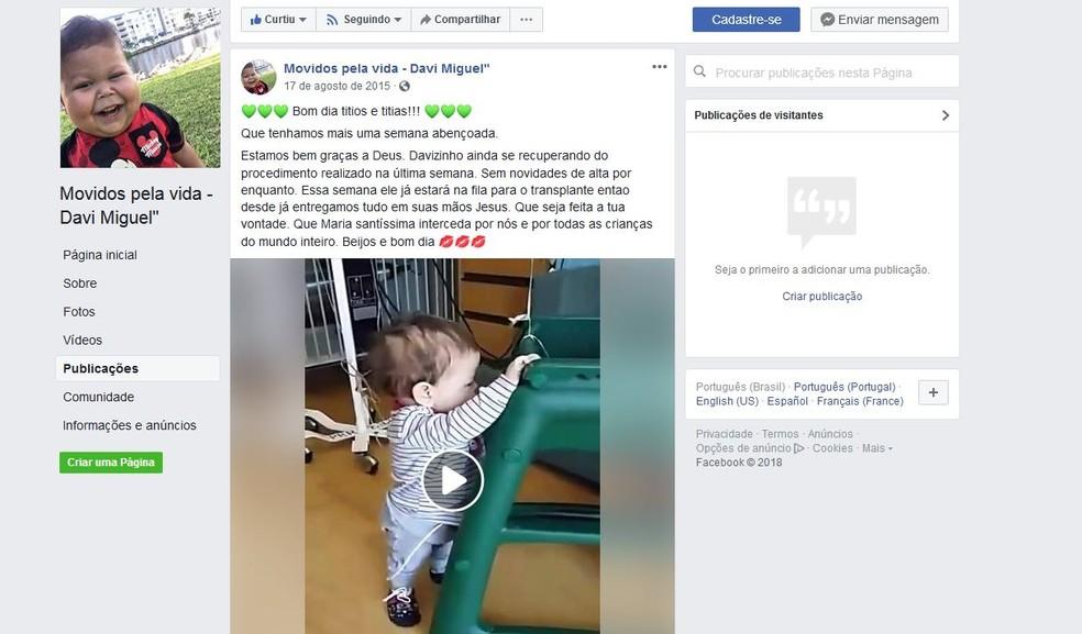 Em página sobre o menino Davi Miguel, família fala sobre entrada do menino para fila do transplante em 2015 — Foto: Reprodução/Facebook