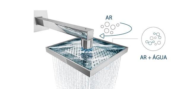 A Deca possui chuveiros com entrada de ar que dão uma boa sensação de volume de água com redução de consumo de até 80%. O chuveiro AirMax é um deles (Foto: Divulgação Deca)