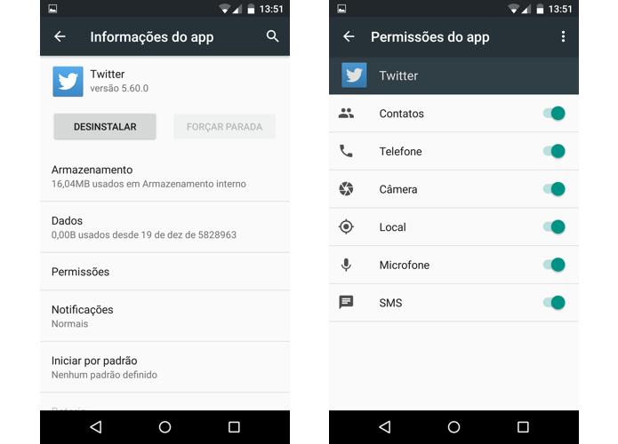 Agora é possível modificar permissões por app (Foto: Reprodução/Paulo Alves)
