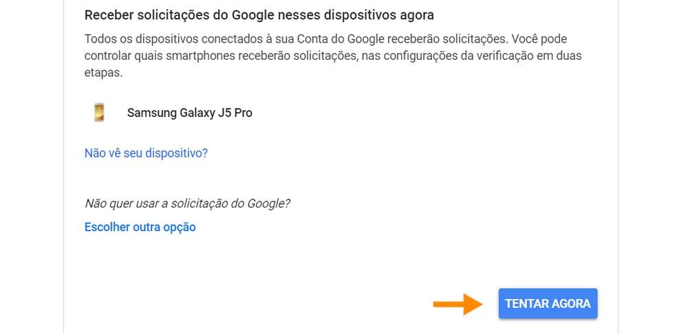 O Google detectará os dispositivos vinculados à conta — Foto: Reprodução/Ana Letícia Loubak