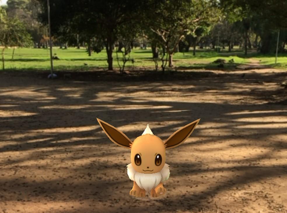 Pokémon Eevee é encontrado no Parque Farroupilha, em Porto Alegre no jogo Pokémon Go — Foto: Lisiane Lisboa/G1/Arquivo