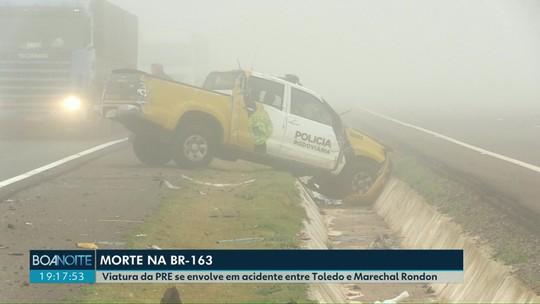 Acidente envolvendo carro da Polícia Rodoviária Estadual deixa uma mulher morta e dois feridos