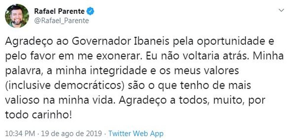 Secretário de Educação do DF, Rafael Parente, anuncia exoneração pelo Twitter — Foto: Twitter/Reprodução