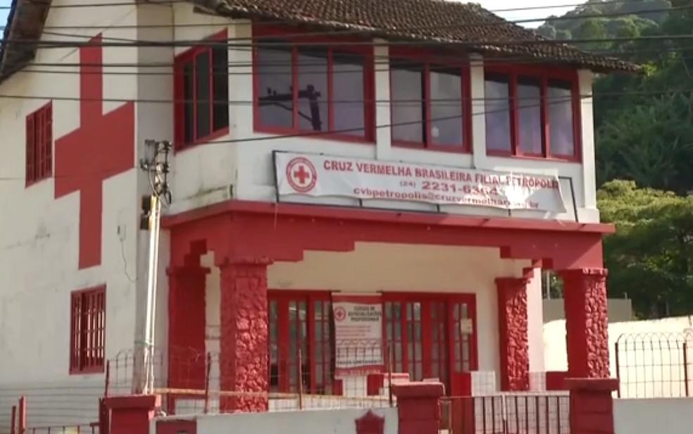 Sede da Cruz Vermelha em Petrópolis, no Rio de Janeiro — Foto: TV Globo/Reprodução