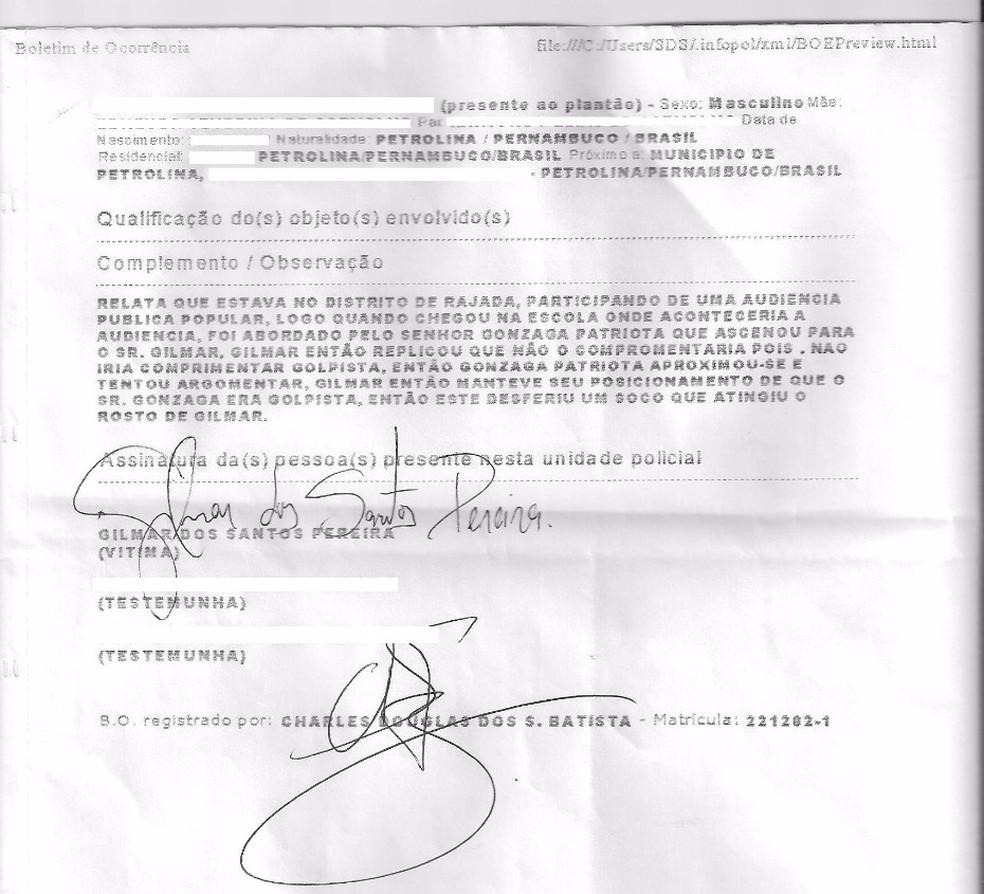 O vereador Gilmar Santos (PT) registrou um Boletim de OcorrA?ncia contra o deputado federal Gonzaga Patriota (PSB) (Foto: DivulgaAi??A?o)