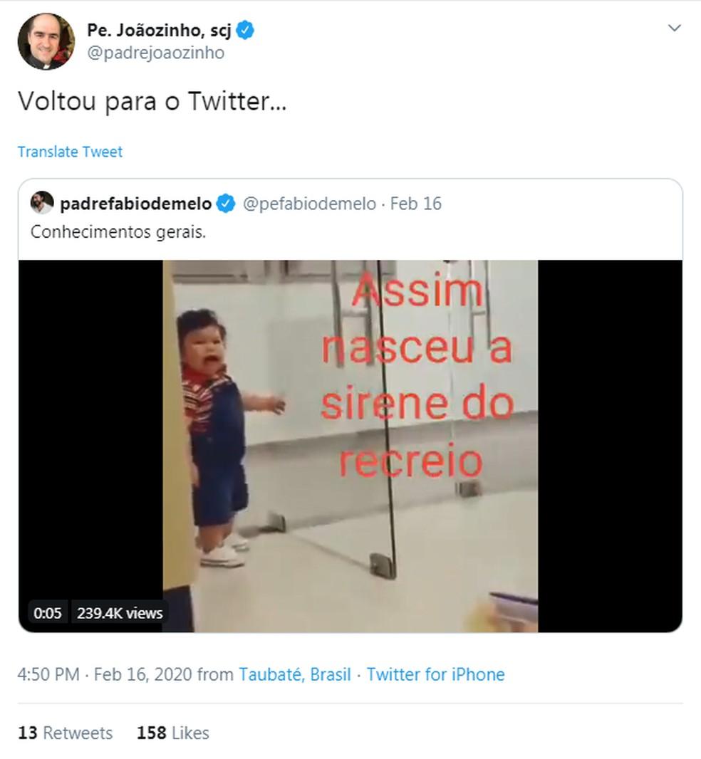 """Padre criticava posts de Fábio de Melo com o que chamou de """"postagens inúteis"""" — Foto: Reprodução/Twitter"""