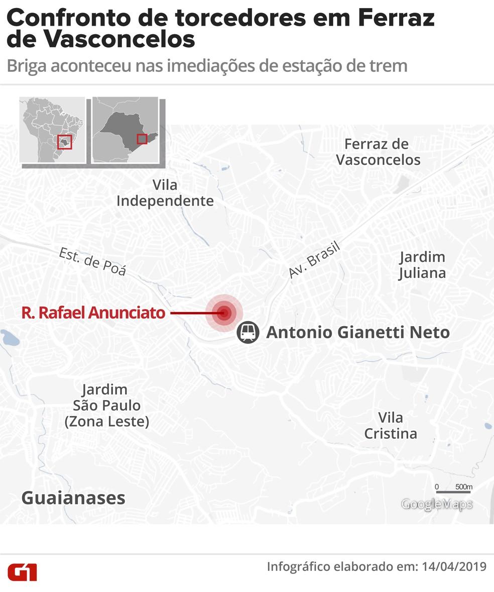 Mapa mostra briga entre torcedores são-paulinos e corintianos — Foto: Inforgrafia: Diana Yukari/G1