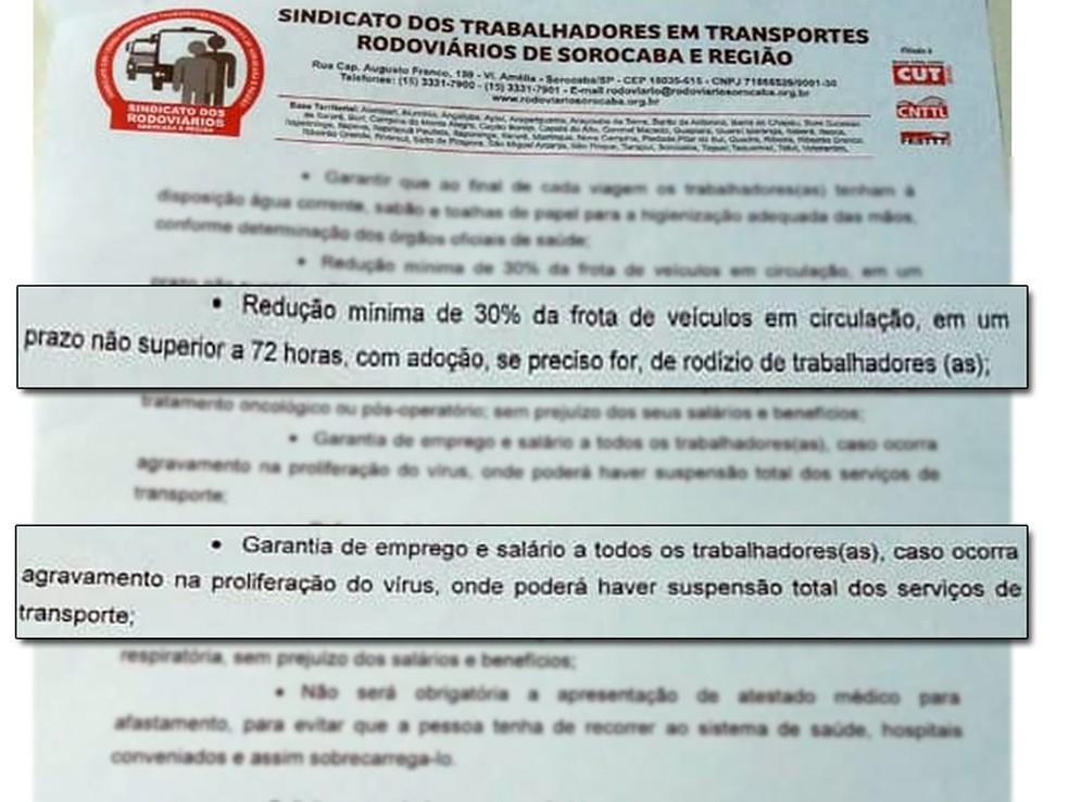 Documento foi enviado para as empresas da transporte em Sorocaba — Foto: Reprodução