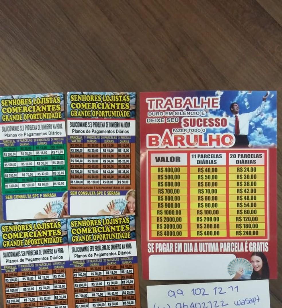 Colombiano tinha cartões de visita em que divulgava empréstimos em município de MS — Foto: Polícia Civil/Divulgação