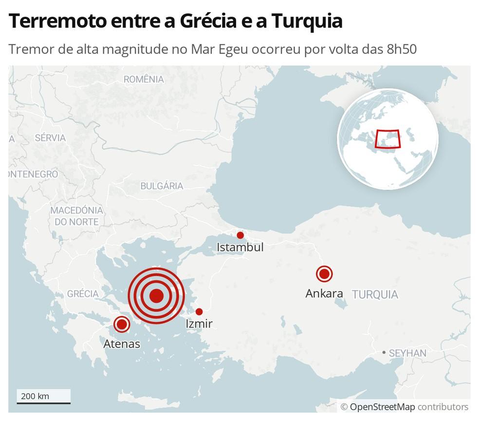 Mapa identifica a região de terremoto de grande magnitude entre a Grécia e a Turquia nesta sexta-feira (30) — Foto: G1