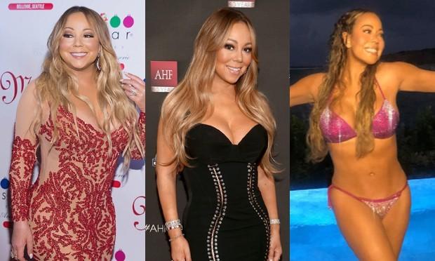 Mariah Carey em três momentos: setembro/2017, dezembro/2017 e janeiro/2019 (Foto: Getty Images e Reprodução/Instagram)