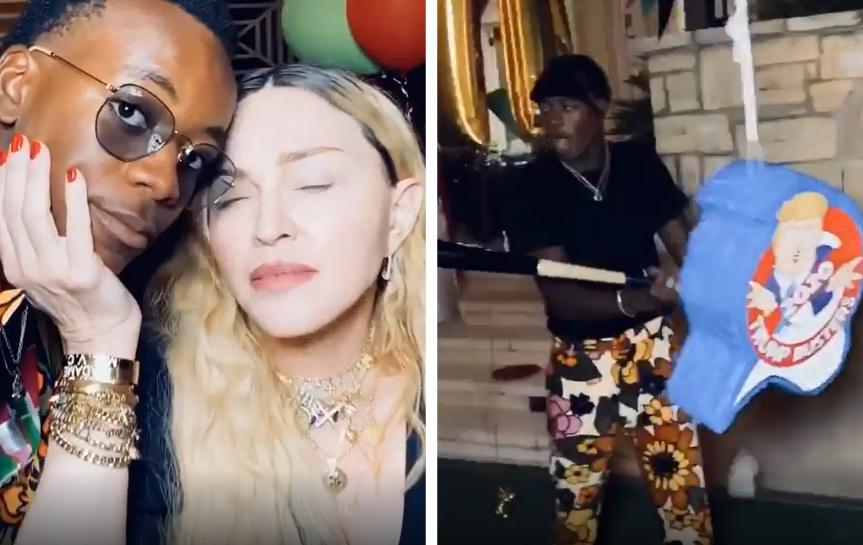 Madonna e um de seus filhos, David Banda (Foto: Reprodução / Instagram)