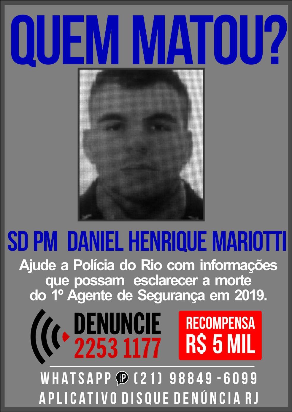 Cartaz do Disque Denúncia pede informações sobre assassinos de PM no Rio — Foto: Reprodução/Disque Denúncia