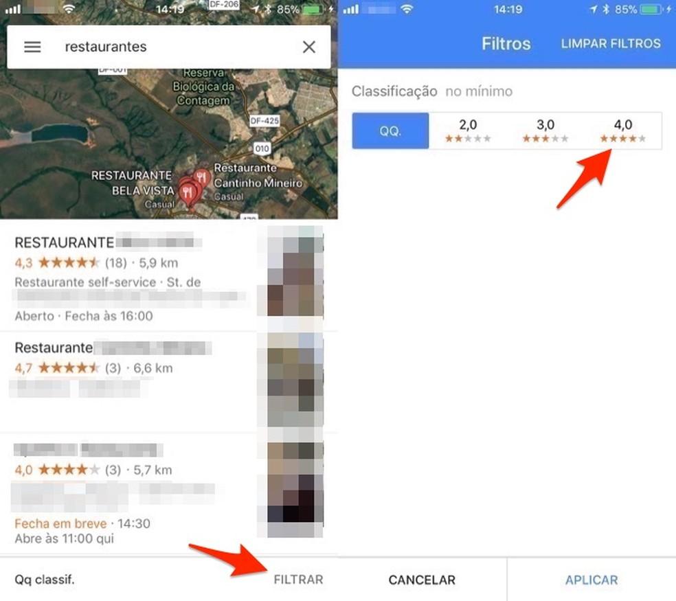 Opções para filtrar resultados de busca por classificação no aplicativo do Google Maps (Foto: Reprodução/Marvin Costa)