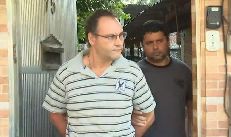 Um dos presos no RJ na Operação Lótus, contra a exploração sexual infantil — Foto: Reprodução/TV Globo