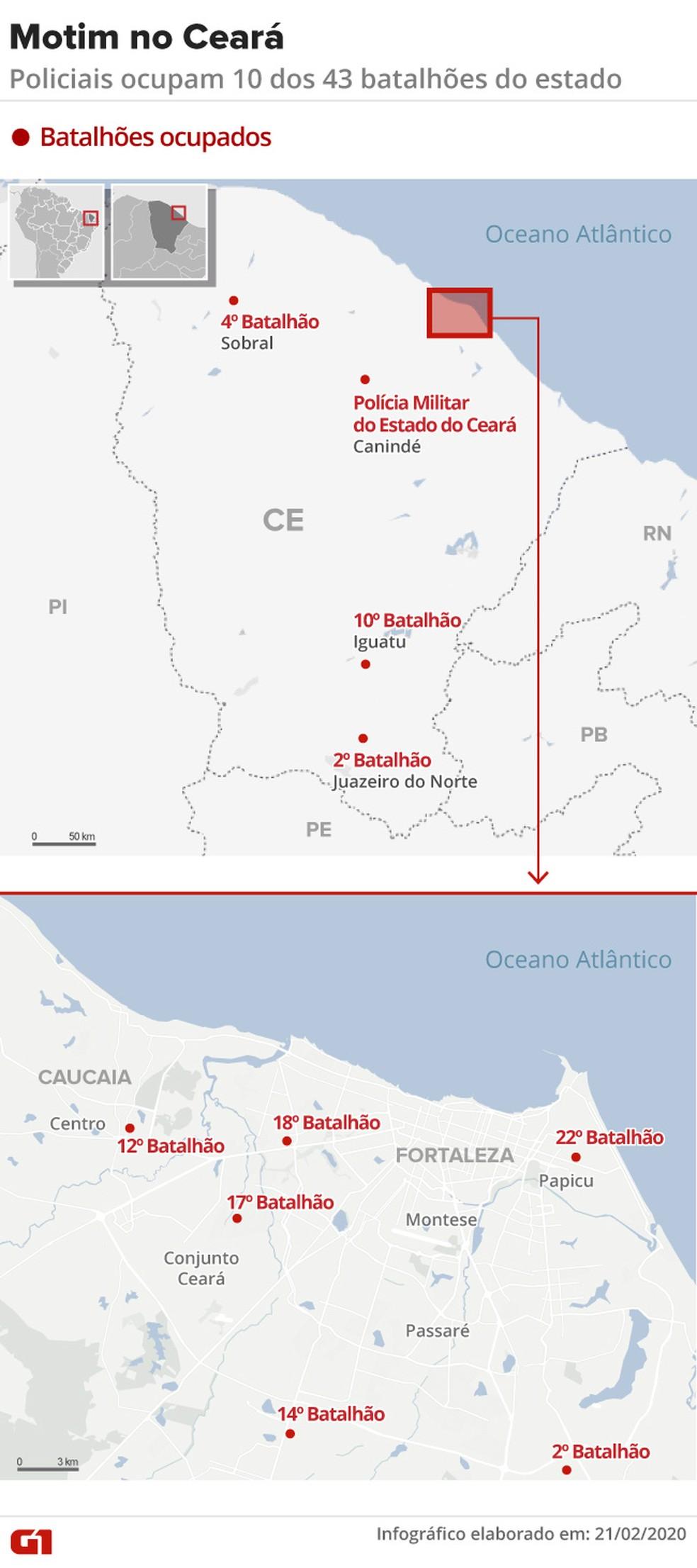 Motim em batalhões no Ceará — Foto: Aparecido Gonçalves/G1