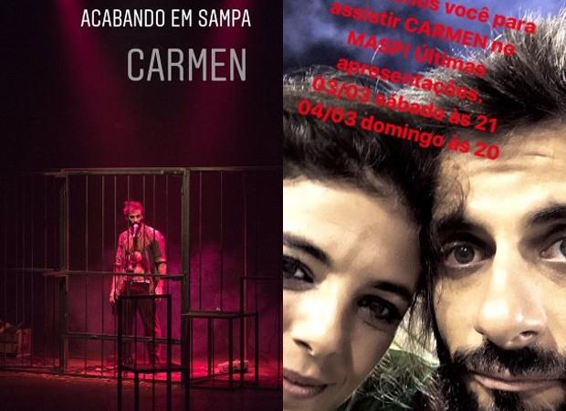 Flávio Tolezani e Natalia Gonsales em peça (Foto: Reprodução/Instagram)
