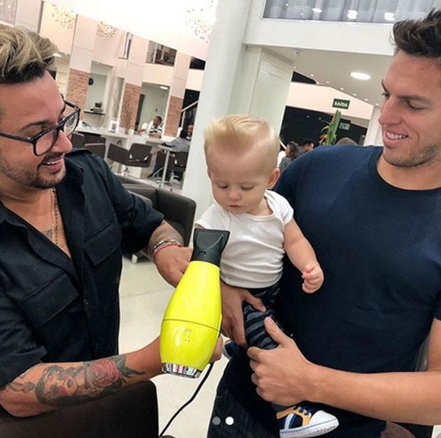 Enrico Bacchi com Amaury Nunes e Fabinho Araújo (Foto: Reprodução)