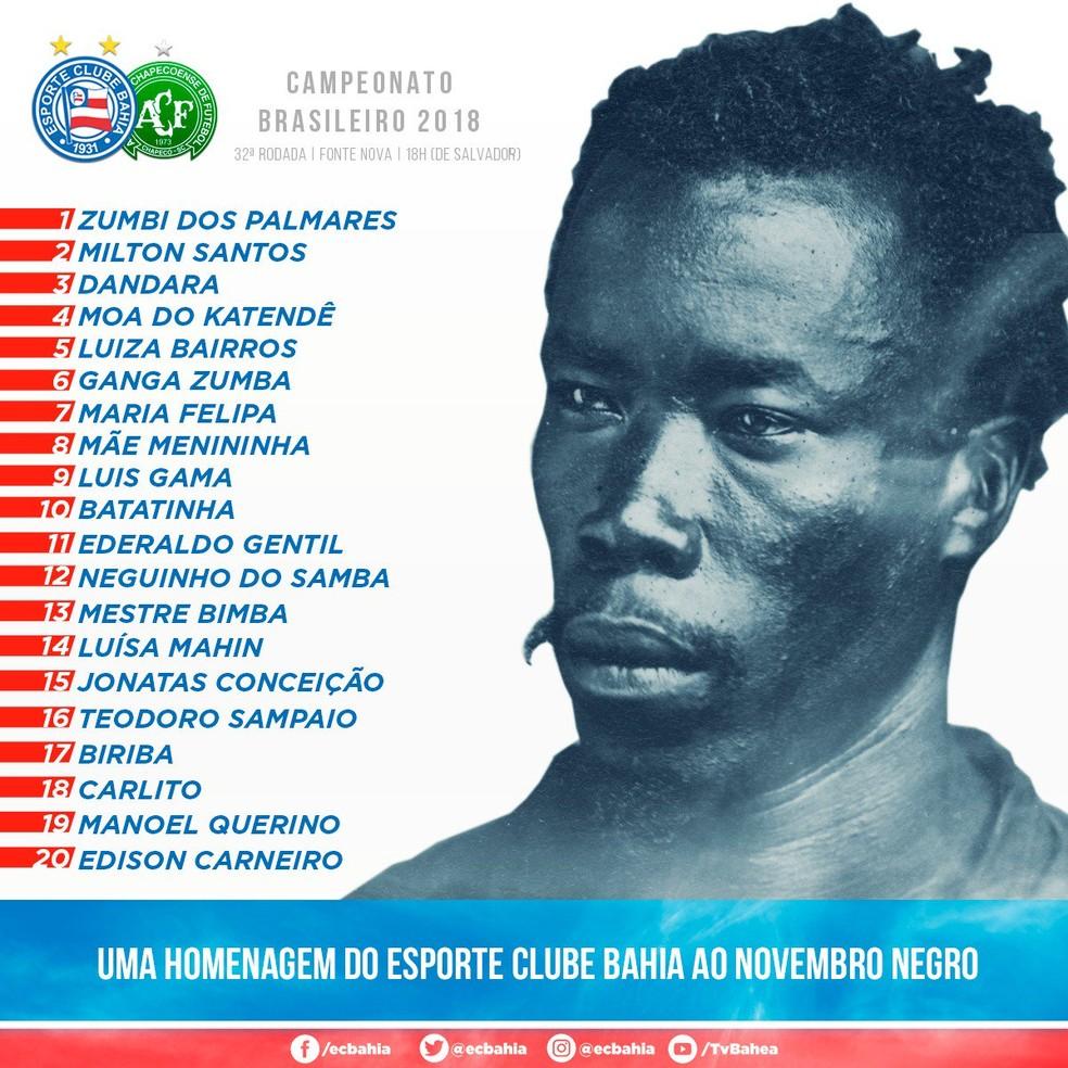 Bahia homenageou personalidades negras no Novembro Negro — Foto: Reprodução
