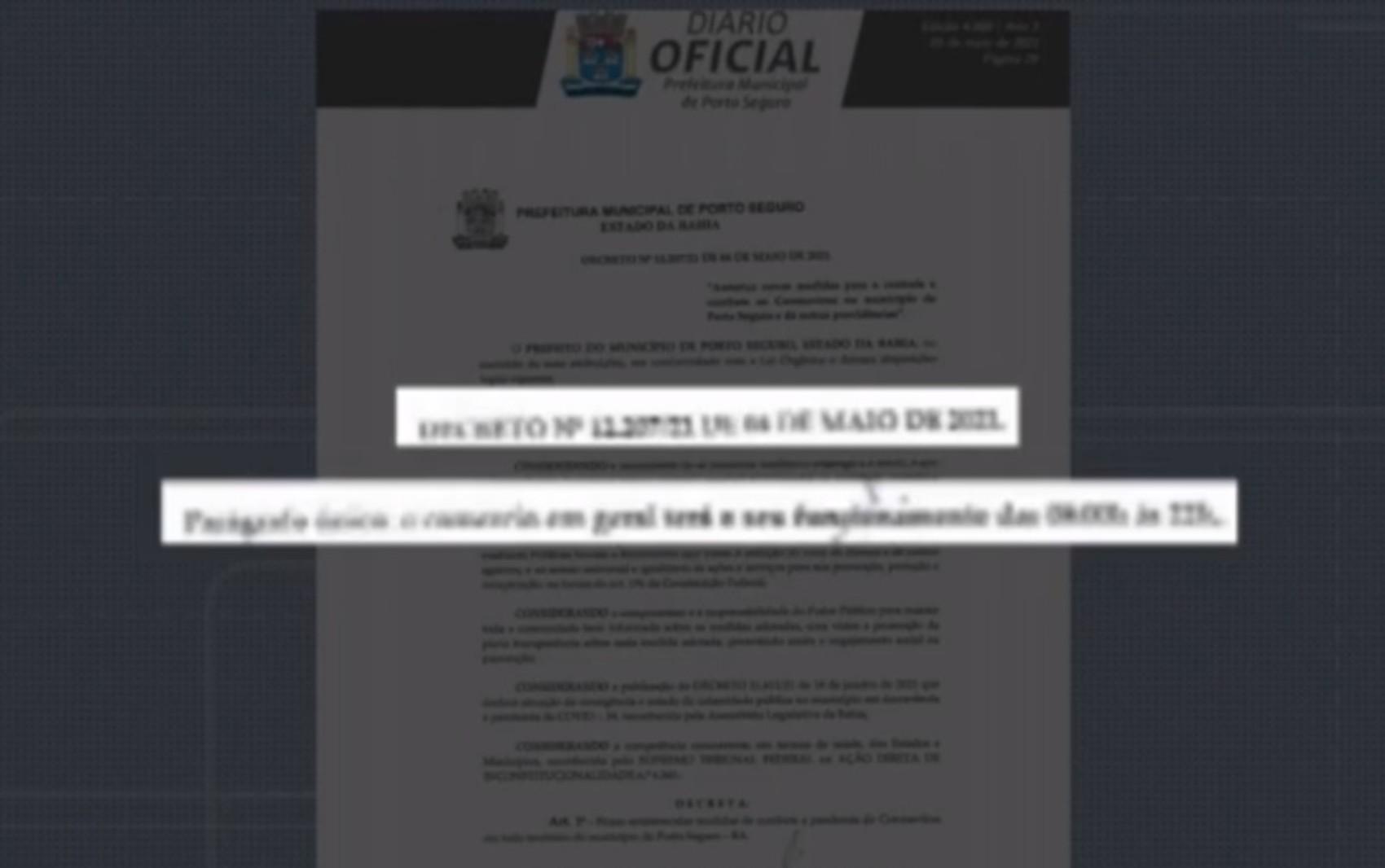 Prefeitura de Porto Seguro publica decreto que altera funcionamento do comércio e autoriza celebração de cultos religiosos; veja detalhes