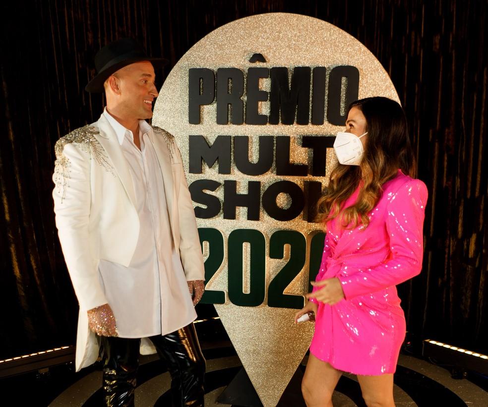 Paulo Gustavo e Tata Werneck durante apresentação do Prêmio Multishow 2020 no Rio de Janeiro — Foto: Hate Flash/Divulgação
