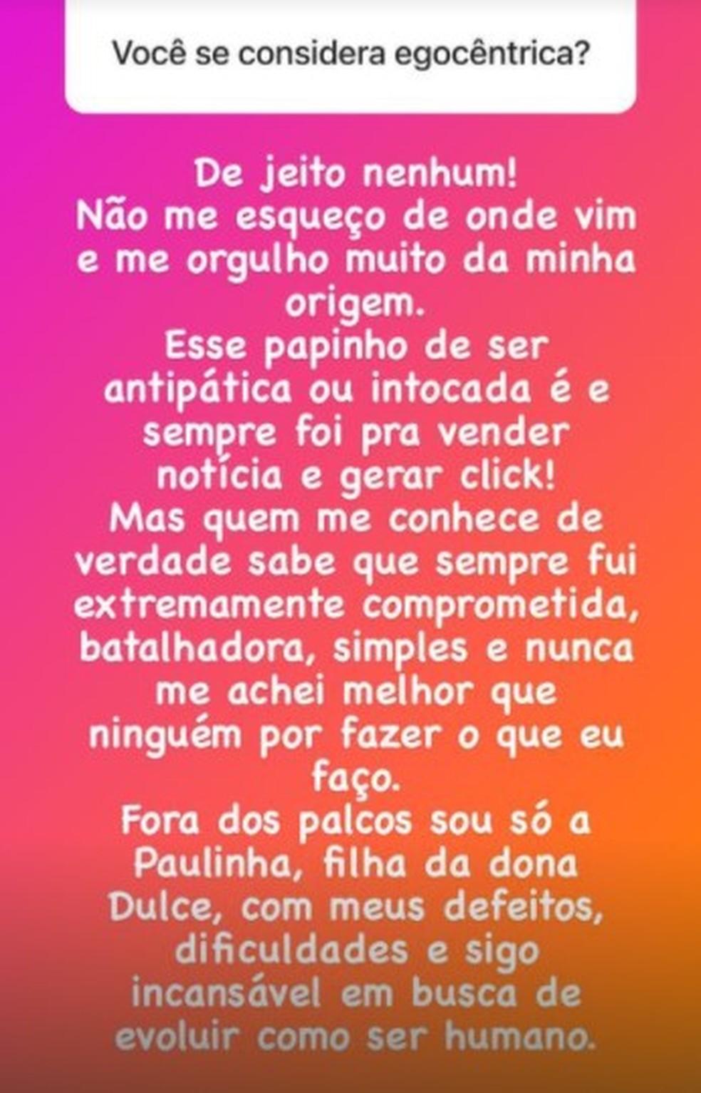 Paula Fernandes responde fãs nas redes sociais — Foto: Reprodução/Instagram