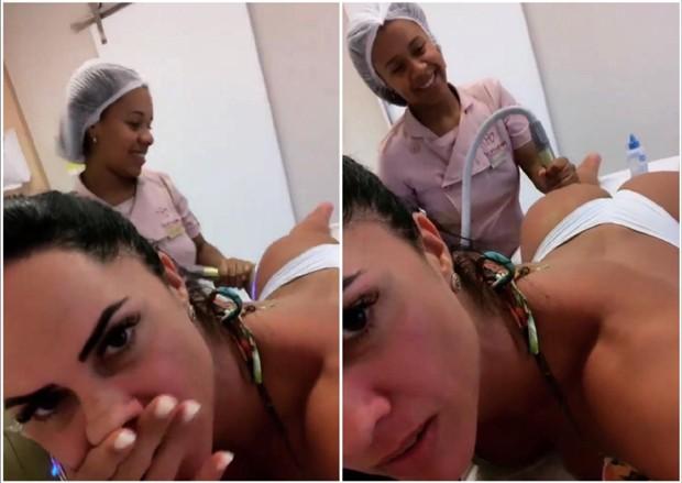 Graciele Lacerda cuidando do bumbum (Foto: Reprodução/Instagram)