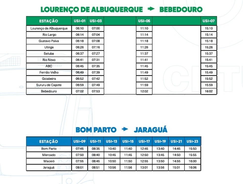Horários de trens e VLTs partindo de Lourenço de Albuquerque e do Bom Parto, aos sábados — Foto: Reprodução