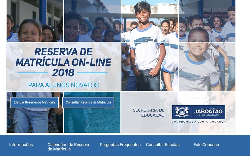 Jaboatão dos Guararapes inicia processo de reserva de vagas para a rede municipal de ensino nesta sexta-feira (15) (Foto: Reprodução)