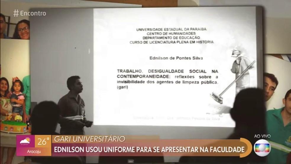Gari universitário: Ednilson conta sua história do 'Encontro' — Foto: TV Globo