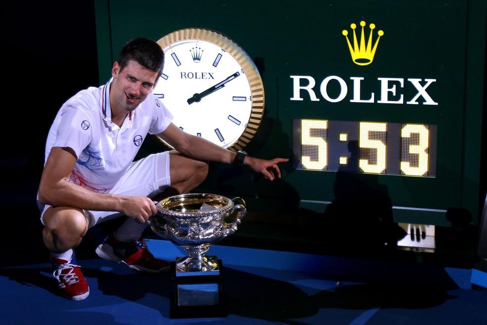 Novak Djokovic campeão Aberto da Austrália 2012 — Foto: Scott Barbour / Getty Images
