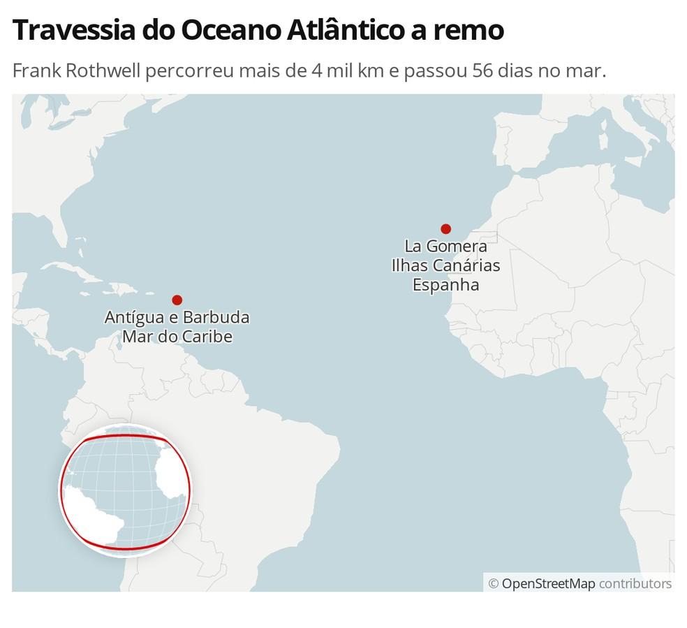 Infográfico mostra a distância entre os pontos de saída em La Gomera e de chegada em Antígua na travessia do Oceano Atlântico a remo. — Foto: G1