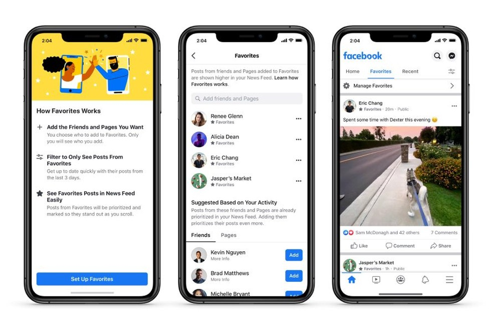 Aplicativo do Facebook vai permitir definir 30 amigos e páginas favoritos e exibirá abas na tela inicial para definir ordem dos conteúdos. — Foto: Divulgação/Facebook
