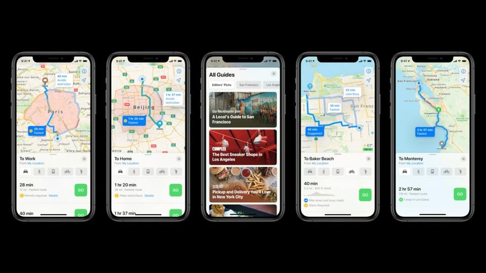 O Apple Maps, agora, possui rotas para ciclistas — Foto: Reprodução/Apple