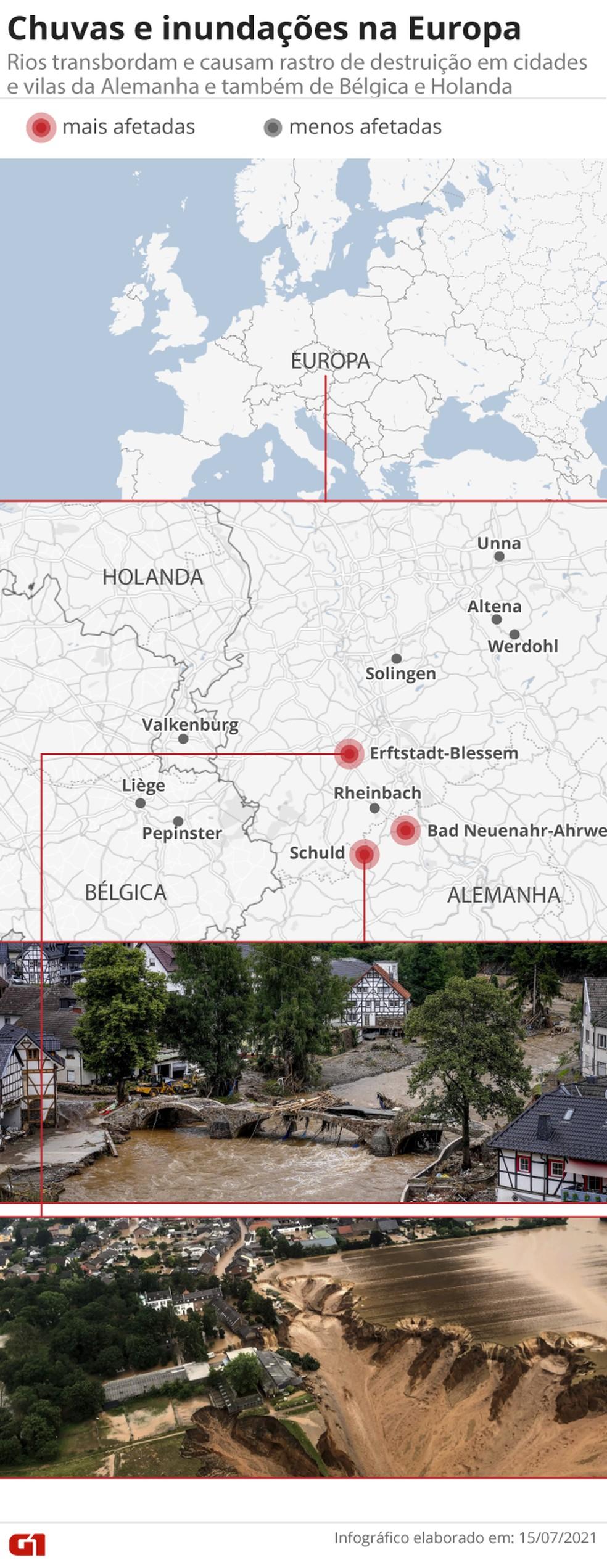 Chuvas e inundações na Europa: temporal deixa dezenas de mortos na Alemanha e na Bélgica e afeta cidades também na Holanda e na França — Foto: Amanda Paes/G1
